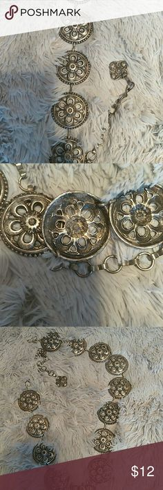 Silver metal belt Ladies Floral motif belt Accessories Belts