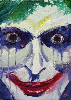 "Joker Harley Quinn Batman Suicide Squad Mad Love splatter abstract drip pop art portrait or ART PRINT SET - ""Happy Together? The Joker, Joker Art, Joker And Harley Quinn, Batman Dark, Batman The Dark Knight, Heath Ledger, Superhero Villains, Pop Art Portraits, Character Drawing"