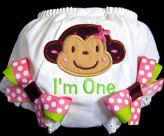First Birthday Bloomers Mod Monkey I'm One Pink and by whimsytots, $22.50