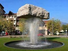 Water features bring a touch of tranquility to your gardens, and then is a helpful addition to your surroundings. Not only is the trickle of water a relaxing and peaceful sound, water provides a draw for birds and other helpful critters to your gardens. Backyard Water Fountains, Backyard Water Feature, Garden Fountains, Rock Fountain, Waterfall Fountain, Rock Waterfall, Landscape Design, Garden Design, Water Sculpture