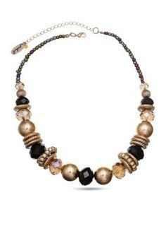 Jules B  Chunky Black and Gold-Tone Necklace