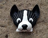 Boston Terrier Magnet. Hand painted seashell dog magnet. Black and white beach, nautical, cape cod dog art.