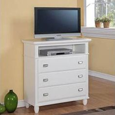 The Furniture Warehouse - Elements Spencer White TV Stand - Guest Bedroom