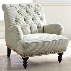 Chas Blue & White Seersucker Armchair