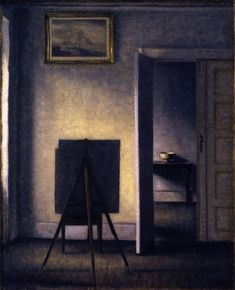 The Athenaeum - Interior with the Artist's Easel (Vilhelm Hammershøi - )