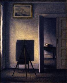 The Athenaeum - Interior with the Artist's Easel (Vilhelm Hammershøi - )
