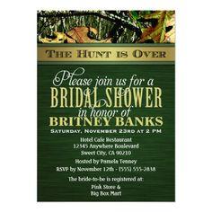 Green Hunting Camo Bridal Shower Invitations