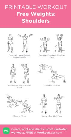 Free Weights: Shoulders: my visual workout created at WorkoutLabs.com • Click through to customize and download as a FREE PDF! #customworkout