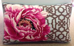 Lovely ~ just beautiful. Everything: color, texture, floral interest, nostalgia... just a great pillow. PEONY TRELLIS NEEDLEPOINT PILLOW BY KIRK & BRADLEY