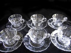 Six Sets Vintage Fostoria Baroque Coffee Cups Saucers Six beautiful cups with six matching saucers in the Baroque pattern made by Fostoria Glass from