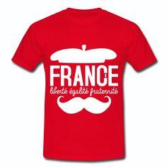 Tee Shirt Rouge France Design bleu blanc rouge: Liberté égalité fraternité II