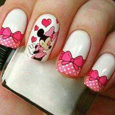 Minnie Mouse Nails, Minnie Cake, Disney Inspired Nails, Disney Nails, Rose Nail Art, Rose Nails, Manicure, Mickey Mouse Wallpaper, Fall Nail Art Designs