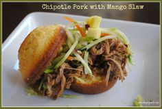 Chipotle pulled pork with Mango Slaw on a corn muffin. DELISH. #slowcooker