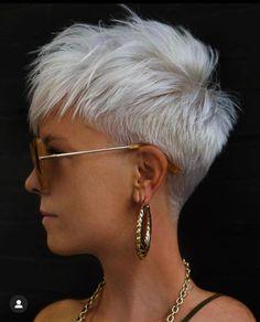 Short White Hair, Short Choppy Hair, Super Short Hair, White Pixie Cut, Short Shaved Hairstyles, Funky Hairstyles, Short Hair Cuts For Women, Short Hair Styles, Short Hair Back View