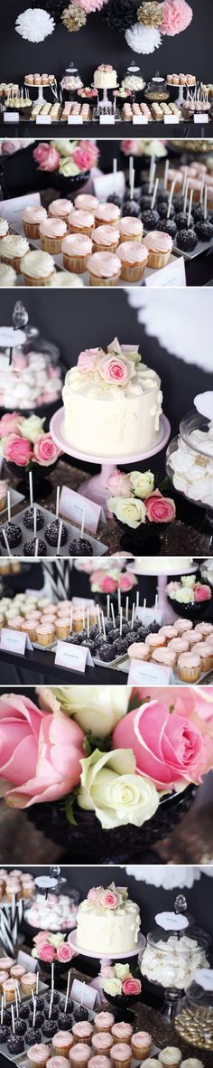 Dessert Table Ideas that will Blow your Mind: Create Yours! A dark rose dessert bar is super glam and, needless to say, delicious.A dark rose dessert bar is super glam and, needless to say, delicious. Candy Bar Wedding, Wedding Desserts, Table Wedding, Mini Desserts, Wedding Cupcakes, Wedding Ideas, Candy Table, Candy Buffet, Dark Rose
