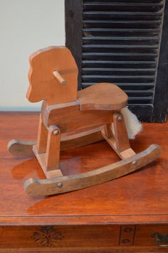"✿ bluefolkhome on etsy ✿  16"" Decoratiive Wood Rocking Horse , Hand made with Lots of Care , Rustic Farmhouse Country Chic Cottage Chic Childrens Room I Ship Globally"