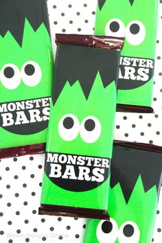 Free printable Monster Candy Bar Wrappers