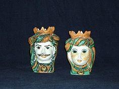 vasi antropomorfi o teste dei mori in ceramica dipinta a mano