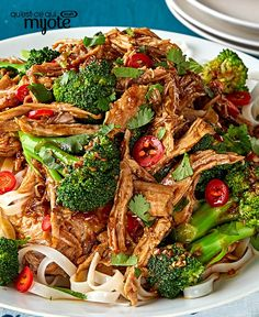 Break out the pressure cooker for our Electric Pressure Cooker Asian Pork & Noodles recipe. Cooked to tender perfection, this shredded pork shoulder is served with rice noodles and broccoli for a tasty main dish. Noodle Recipes, Pork Recipes, Yummy Recipes, Pressure Cooking Recipes, What's Cooking, Kraft Food And Family, Pork Noodles, Family Meals, Family Recipes