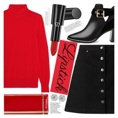 """Red Lipstick"" by aislinnhamilton1993 ❤ liked on Polyvore featuring beauty, Givenchy, Miss Selfridge, Ted Baker, Jimmy Choo, Giorgio Armani and REDLIP"