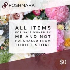 🌸 All items are my own & not from a thrift shop 🌸 All items are from my own closet and not from a thrift shop • I need to slim down my own closet and make room so that I may buy from YOU • I am now medically retired and can't wear all of my wardrobe • My clothes are very lightly worn (unless noted) and many have been in storage • Special treasures if you dig deep • Search for items that are free with $purchase. Other