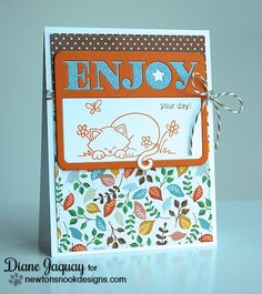 Cute Kitty card by Diane Jaquay for Newton's Nook Designs - Newton's Daydream Cat stamp set