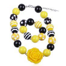 Baby Girls Jewelry Set Child Yellow Resin Rose Flower Chunky Necklace + Bracelet Set Kids Jewelry Set Children Accessories //FREE Shipping Worldwide //