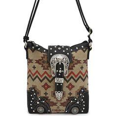 Western Cowgirl Aztec Print Rhinestone Belt Design Messenger Bag #GetEverythingElse #MessengerCrossBody