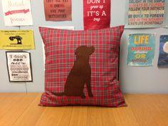 Red Tartan Cushion Pillow Cover Brown Felt Labrador Gun Dog Design Dog Animal…