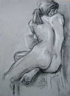 Drawing figures using straight lines and the flat side of charcoal or pastel sticks - WetCanvas női akt háttal. Life Drawing, Drawing Sketches, Art Drawings, Figure Drawings, Body Drawing, Figure Sketching, Figure Drawing Reference, Figure Painting, Painting & Drawing