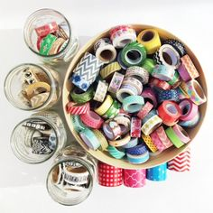 Washi Collection - Scrapbook.com - Display lots of washi tape rolls for a bowl of color.