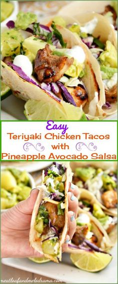 Easy Teriyaki Chicken Tacos with Pineapple Avocado Salsa -- An easy healthy summer dinner. Make these with Johnsonville Kabobs and they take about 15 minutes to make! AD