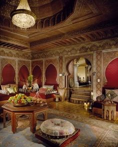 Turkish lamps, gem-tone touches, and luxurious fabrics set the tone in the Moroccan room. Decor, Mansions, Beautiful Houses Interior, Interior, Home, Beautiful Homes, Moroccan Room, House Interior, Persian Decor