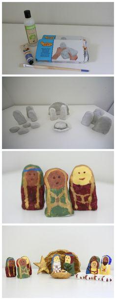 Christmas Craft: DIY Clay Nativity Scene. So easy and cute!