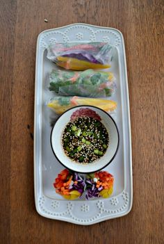 Enjoy these colorful and delicious Fresh Vegetable Rainbow Rolls with your favorite Asian meal.  #SundaySupper