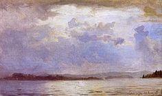 Hans Gude--Uv Aersluft Over Chiemsee--1867.jpg