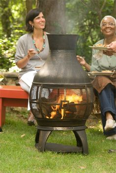 Gather around the fire! This cast-iron chiminea (#291623) has a strong foot base and comes with tools and a plastic cover.