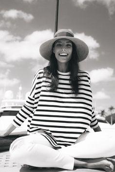 A striped sweatshirt is never a bad idea.