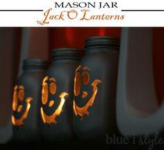 blue i style: {seasonal style} Mason Jar Jack O Lanterns