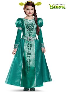 Buy this girl's Princess Fiona costume from Shrek online in Canada. It comes with Princess Fiona dress, ogre headband ears and attached belt. Shrek And Fiona Costume, Fiona Shrek, Shrek Costume, Fairy Tale Costumes, Movie Costumes, Girl Costumes, Princesa Fiona, Classic Halloween Costumes, Halloween Kids