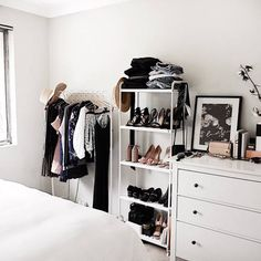 If you're short on closet space, buy a cheap bookcase (like this one from IKEA. If you're short on closet space, buy a cheap bookcase (like this one from IKEA) for backup. Ikea Bedroom, Closet Bedroom, Closet Space, Cozy Bedroom, Bedroom Furniture, Bedroom Decor, Furniture Ideas, Ikea Closet, Tiny Closet