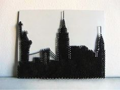 16x20 New York City Skyline String Art by HookandNail on Etsy