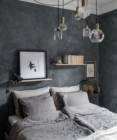 Blue Bedroom Ideas - We're putting it around-- blue might be the utmost bedroom color. It's refined without looking boring, it's peaceful as well as soothing, and also it works with . Blue Master Bedroom, Bedroom Wall, Bedroom Decor, Bedroom Ideas, Purple Rooms, Black Rooms, Bedroom Photos, Bedroom Colors, My New Room