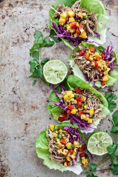 Slow Cooker Pork Carnitas Lettuce Wraps
