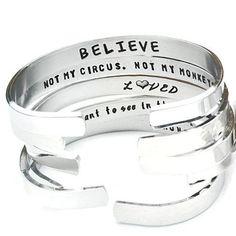 Confidence Cuffs® Hand Stamped Aluminum Cuff Bracelets