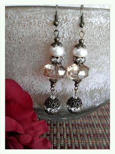 Downton Abbey style raw sugar and pearl earrings. by ABBGDesigns, $22.00
