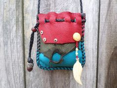 Turquoise Colored Deerskin Leather Medicine Bag by ncbeadsnbags, $59.00