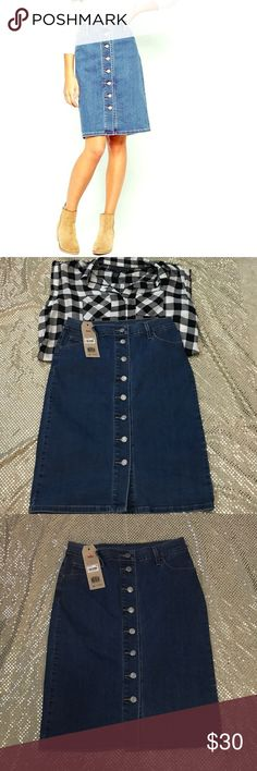 """NWT Vintage Levi's Front Button Knee Denim Skirt Brand new with tags never worn. The more you bundle the better deal I can give you. Just comment for any kind of help I am here for you! I strive for quality items at the best price. I consider offers, am a fast shopper, & top rated seller. This is for the bottoms only, the items paired may be available in my boutique. Skirt is about 22.5"""" long Levi's Skirts"""