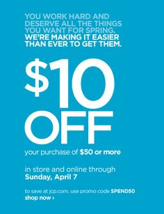 b9d074cc185ef1 JcPenney Coupon -  10 off  50 purchase in stores or online! Coupon Deals