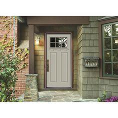 JELD-WEN Premium 6 Lite Primed White Steel Prehung Front Door with Brickmold and Shelf-N11437 - The Home Depot